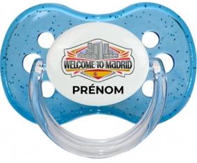 Welcome to Madrid avec prénom Tétine Cerise Bleu à paillette