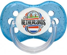 Flag Netherland Tétine Cerise Bleu à paillette