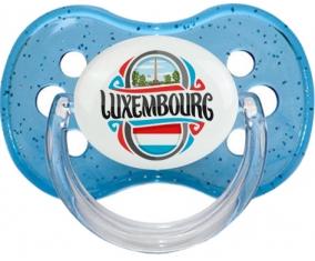 Flag Luxembourg Tétine Cerise Bleu à paillette