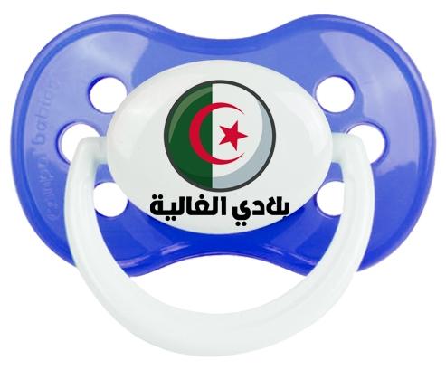 Drapeau Algérie Blédi al ghalia en arabe Tétine Anatomique Bleu classique