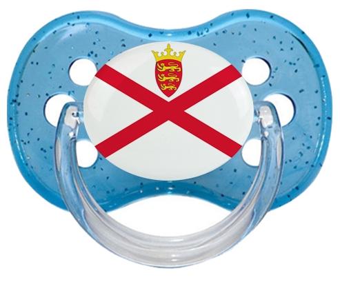 Drapeau Île à Jersey Tétine Cerise Bleu à paillette