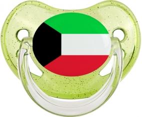 Drapeau Koweit Tétine Physiologique Vert à paillette
