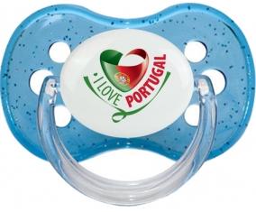 I Love Portugal design 2 Tétine Cerise Bleu à paillette