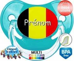 Drapeau belgique + prénom : Sucette Physiologique personnalisée