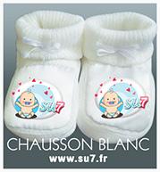 chausson blanc en coton