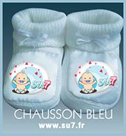 chausson bleu en coton