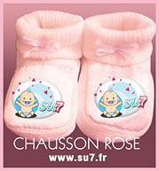 chausson rose en coton